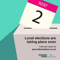 Don't forget to register to vote to take part in the local elections - May 2019