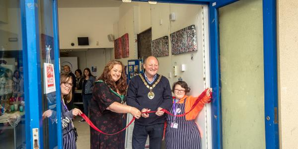 Chair of Mendip District Council, Cllr Helen Sprawson-White and Cllr Mark Dorrington Mayor of Frome opening the shop in Frome