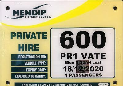 taxi plate - private hire