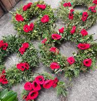 An image relating to Woollen Poppy Eco-Wreaths Made in Mendip laid to mark Remembrance Sunday